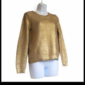 H&M metallic gold pullover knit sweater